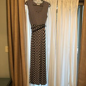Calvin Klein striped belted stretch long dress